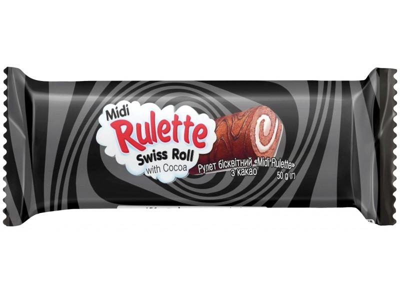 """Рулет  бісквітний  """"Midi  Rulette"""" з какао  (в шоубоксах)"""