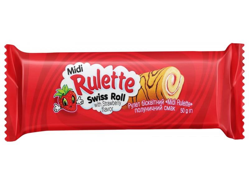 """Рулет  бісквітний  """"Midi  Rulette"""" полуничний смак (в шоубоксах)"""